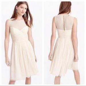 NWT J.Crew Clara Ivory Silk Chiffon Dress Size 4